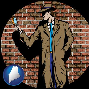 a private detective with a brick wall background - with Maine icon