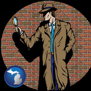 a private detective with a brick wall background - with Michigan icon