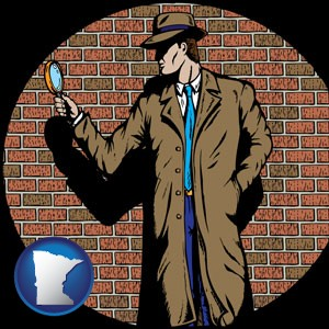 a private detective with a brick wall background - with Minnesota icon