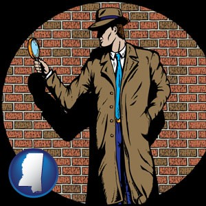 a private detective with a brick wall background - with Mississippi icon