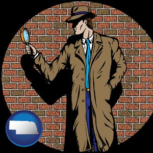a private detective with a brick wall background - with Nebraska icon