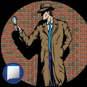 a private detective with a brick wall background - with New Mexico icon