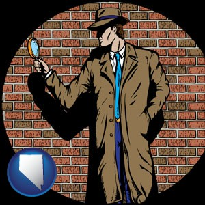 a private detective with a brick wall background - with Nevada icon