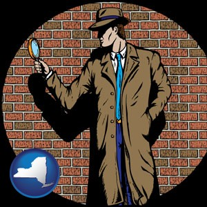 a private detective with a brick wall background - with New York icon