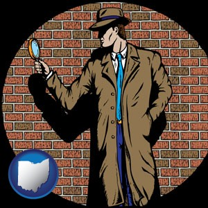 a private detective with a brick wall background - with Ohio icon