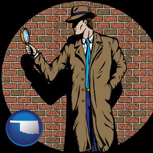 a private detective with a brick wall background - with Oklahoma icon