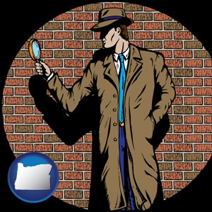 a private detective with a brick wall background - with Oregon icon