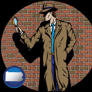 a private detective with a brick wall background - with Pennsylvania icon
