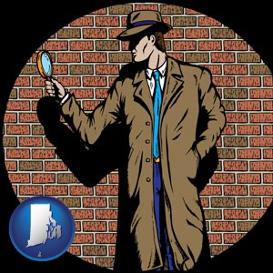 a private detective with a brick wall background - with Rhode Island icon