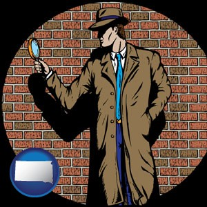 a private detective with a brick wall background - with South Dakota icon