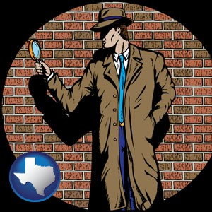 a private detective with a brick wall background - with Texas icon