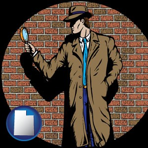 a private detective with a brick wall background - with Utah icon