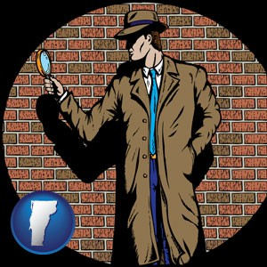 a private detective with a brick wall background - with Vermont icon