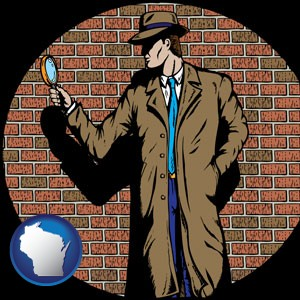 a private detective with a brick wall background - with Wisconsin icon