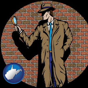a private detective with a brick wall background - with West Virginia icon