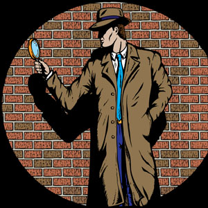 a private detective with a brick wall background