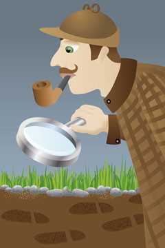a private detective sleuthing with a magnifying glass